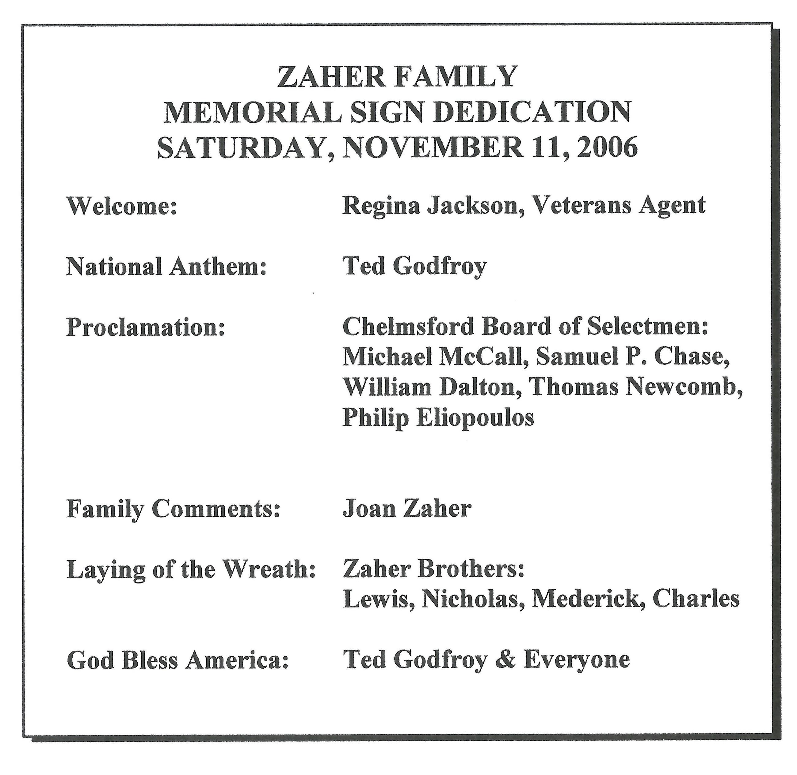 Zaher Family - Memorial Sign Dedication